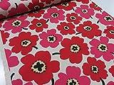 綿麻 マリメッコ風カラフル花柄大 レッド赤 キャンバス生地 |北欧風|生地|布地|
