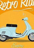 igsticker ポスター ウォールステッカー シール式ステッカー 飾り 297×420㎜ A3 写真 フォト 壁 インテリア おしゃれ 剥がせる wall sticker poster 011048 バイク 乗り物 レトロ