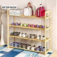 廊下のバスルームのリビングルーム(65 * 29 * 86センチメートル)のための多機能シェルフ4ティア木製シンプルな靴の棚の棚のホルダーストレージオーガナイザー (色 : B)