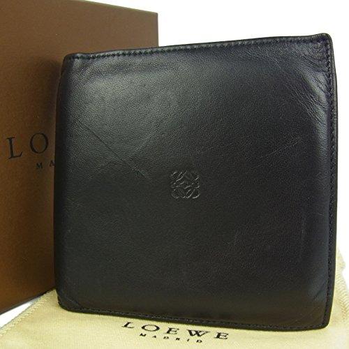 (ロエベ) LOEWE メンズ アナグラム ナッパ レザー 二つ折り 財布 箱付き ブラック 24820eSaM 中古