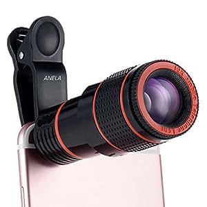 スマホ 望遠レンズ 12倍 高画質 iphone カメラレンズ iPhone7 iPhone6 iPhone6 Plus等対応 挟みタイプ 簡単装着 <360日間保証付> 【ANELA】