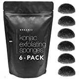 Minamul Konjac Exfoliating Organic Facial Sponge Set   Gentle daily face scrub/skincare   infused with best bamboo activated charcoal   Safe for Oily, Dry, Combination or Sensitive skin   6 pack set