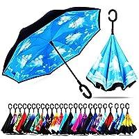 防風Double Layer Folding逆傘、セルフスタンド上下逆雨保護車逆傘C型のハンドル