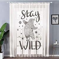 レースカーテン 目隠し 仕切り 洗濯可 レースストライプ-ホワイト 150x178cm クマ、かわいい星と手描きスタイルでクマを踊る滞在野生の心に強く訴える引用装飾、ブラックホワイト