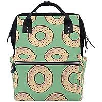 ママバッグ マザーズバッグ リュックサック ハンドバッグ 旅行用 ドナツ柄 緑 ファション