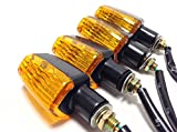 (nakira) 4個組 カスタム ウインカー 黄色レンズ 汎用 ウィンカー (イエロー/ブラック)