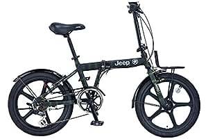 JEEP(ジープ) 20インチ 折りたたみ自転車 シマノ6段変速 ライト付属 樹脂性ホイール JE-206GLE ARMY GREEN 2018 43607