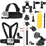 Luxebell 9-in-1 Basic Common Accessories for DBPOWER Waterproof Action Cam 12MP/ EX5000 WIFI 14MP FHD - Chest Harness Mount + Head Strap + Floating Grip + Suction Cup [並行輸入品]