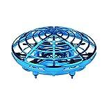 小型 ドローン ヘリコプター おもちゃ 360度回転 自動回避障害機能 赤外線誘導 手動コントロール UFOフライングボール 高度維持 LED付き 子供と大人用 (青)