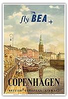コペンハーゲン、デンマーク - イギリス・ヨーロッパ航空(BEA) - ビンテージな航空会社のポスター によって作成された イエルゲン・ブレンデキルド c.1955 - アートポスター - 33cm x 48cm