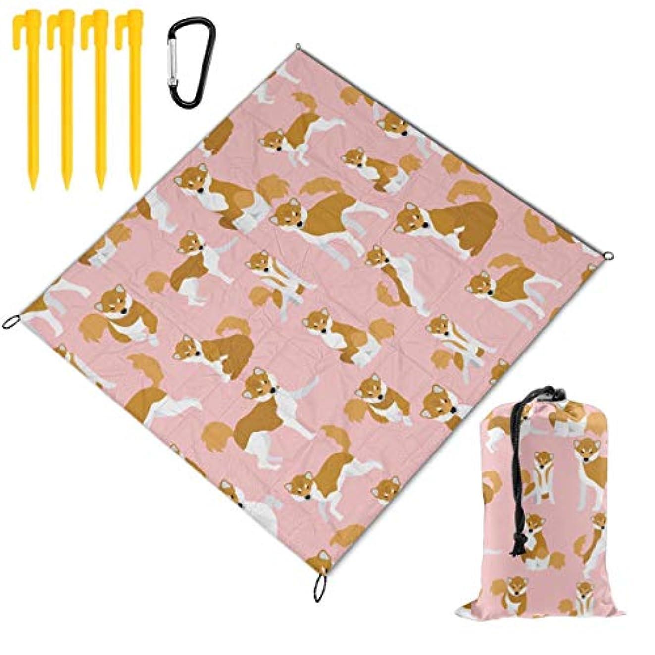 作物あえぎ連想柴犬 犬柄 総柄 折り畳めるピクニックマット 防水防湿パッド 公園マット キャンプマット 超軽くて便利な携帯用防水ピクニックマット 145x150cm