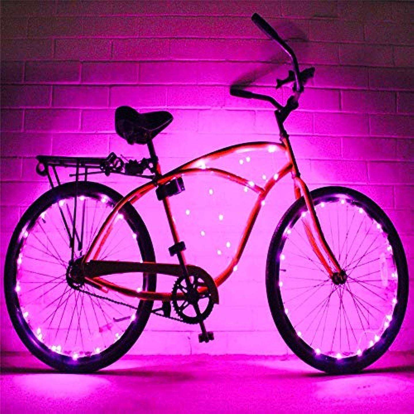 リンク中毒ポップUSB充電式自転車ライト 2セットの自転車ホイールライト文字列超明るいLED各種色自転車タイヤアクセサリー自転車リムライト自転車スポークライト超高輝度LED防水ホイールライトバイクライト (色 : 紫の, サイズ : 2 pcs)