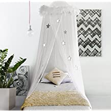 Bobo & Bee White Bed Canopy Mosquito Net Curtains with Feathers & Stars for Girls Toddlers & Teens I Large size Fits Single and Twin Beds I By BOBO & BEE