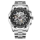 腕時計、メンズ 機械式時計 自動巻きファッションパンクメカニカルスケルトンダイヤルアナログ腕時計ステンレススチールブレスレット - Best Reviews Guide