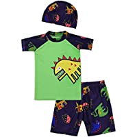 iiniim Boys Swimsuit Top Shirts with Shorts Trunks Kids Dinosaur Swimwear Bathing Suit with Swimming Cap Hat Set