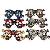 6個セット ハロウィン 子供のおもちゃ 骷髅のメガネ パーティー 紙質鏡 仮装