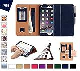 iPad Mini4 ケース アイパッドミニ4 ケース,Fyy 高級PUレザーケース カバー 超軽量 全面保護型 マグネット開閉式 スタンド機能付き オートスリープ機能対応 カードスロット&お札用ポケット&伸縮性ハンドストラップ&タッチペンホルダー ネイビー