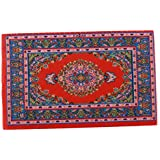 Dollhouse Embroidery Rug 1/12 Scale Mini Carpet Decoration Furnitures for Living Room, Bedroom - Red