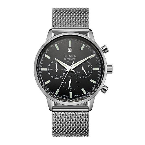 BIENNA 腕時計 メンズ パイロットウォッチ CHRONOMETERシリーズ クロノグラフ 多針アナログ クオーツムーブメント ステンレスバンド 日付付き 5気圧防水 スタンダード スイス製 ビジネス用 おしゃれ