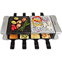 [CucinaPro] [Dual Cheese Raclette Table Grill w Non-stick Grilling Plate and Cooking Stone- Deluxe 8 Person Electric Tabletop Cooker- Melt Cheese and Grill Meat and Vegetables at Once] (並行輸入品)
