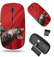 MSDワイヤレスマウス旅行2.4GワイヤレスマウスUSBレシーバー付き、Noiseless andサイレントクリックwith 1000dpi for PCノートブック、PC、ラップトップ、コンピュータ、Mac Bookデザイン: 32170415A Cat