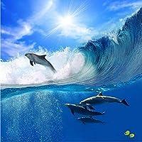 Xbwy カスタム写真の壁紙3D大壁画のリビングルームのソファ子供漫画空イルカ海壁紙-250X175Cm