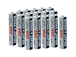 【ロワジャパン】 【ロワ独売!!/1000回充電可能】ロワ ROWA エネループを超える 超大容量950mAh Ni-MH ニッケル水素 単4形充電池 16本セット