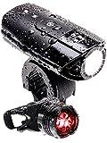 【 50メートル先まで ギラッと照らす 】 LICLI 自転車ライト 防水 USB 充電式 明るい LED ヘッドライト 前照灯 日本語説明書で簡単取り付け 「 テールライト ホルダー 付 」「 高輝度 軽量 コンパクト 」「 クロスバイク ロードバイク 自転車 」 4カラー (ブラック)