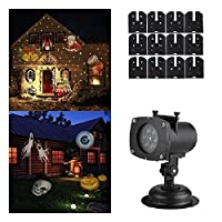 Projector Lights 12 Pattern Gobos Garden Lamp Lighting Waterproof Sparkling Landscape Projection Light for Decoration Lighting on Christmas Halloween Holiday Party [並行輸入品]