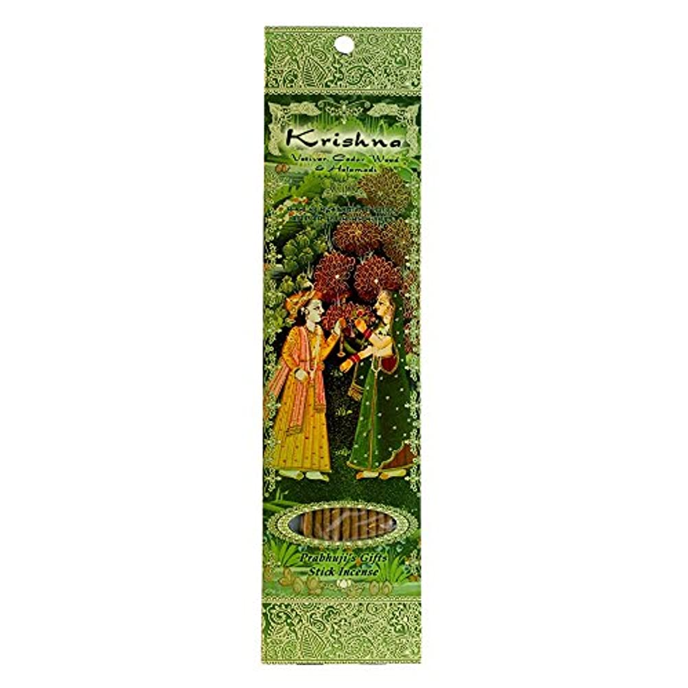 ファイター聖なる落ち着いた(Krishna, 1) - Ramakrishna Incense Sticks, Krishna, Vetiver, Cedar wood & Halamadi, Single Pack