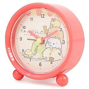 すみっコぐらし 目覚まし時計 駄菓子 ラウンドアラームクロック サーモンピンク