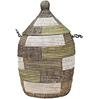 アフリカのランドリーバスケット/セネガルバスケット/手編み/天然素材/水草/ふた?取っ手付きブロック柄グリーン?ブラック?ホワイト
