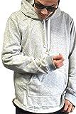 (Willing) パーカー メンズ ペアルック サイドジップ プルオーバー ロング丈 薄手 ストリート 長袖 大きいサイズ ゴールドジップ M L XL XXL (12:グレー L)