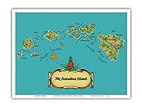 ハワイ諸島 - から:パイナップルの物語 - ヴィンテージマップ によって作成された スティーブン・J・ヴォーイース c.1939 - アートポスター - 23cm x 31cm