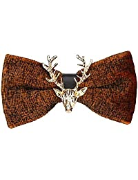BIGBOBA Gold Velvet Christmas Moose Head Wedding Bow Tie Bow Anniversary Gifts Valentine's Day for Men Women Adult