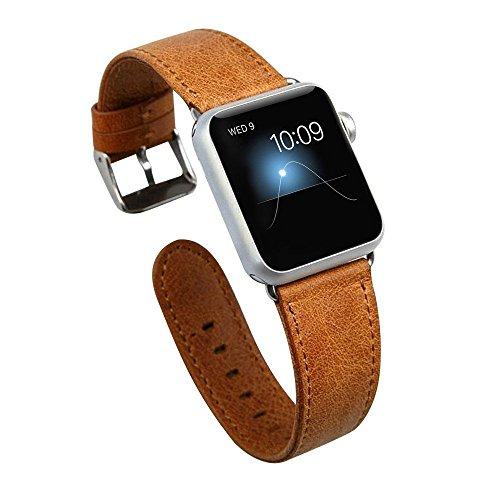 Icheckey Apple Watchバンド アップルウォッチ交換バンド Apple Watch革ベルト スマートウォッチ 時計バンド Apple Watchレザーバンド 38mm 42mmに対応 the band for Apple watch series1/Apple watch series2