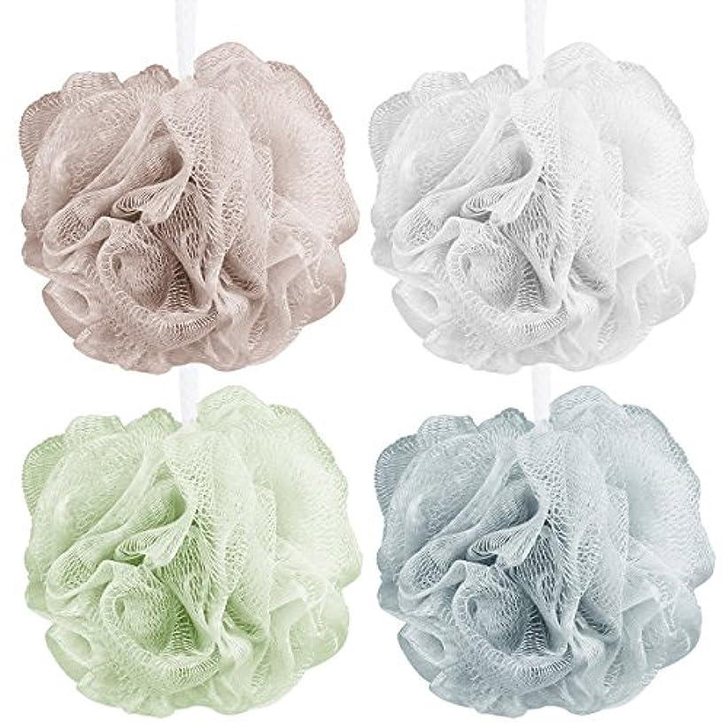 スポンジ眠りガレージAahlsen 泡立てネット 超柔軟 シャワー用 ボディ用お風呂ボール 花形 タオル 2点セット