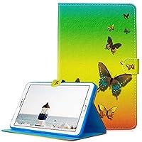 A-Beauty Galaxy Tab E 9.6 ケース SM-T560 カバー、Painted 高級 レザーTPU内側 スタンド機能 財布型 手帳型(レインボーバタフライ)