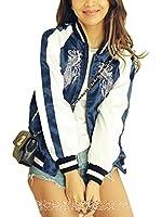 [ゼンアン]ZENAN ダサかわいい! スカジャン レディースジャケット スタイリッシュ ネイビー 刺繍 日本正規品