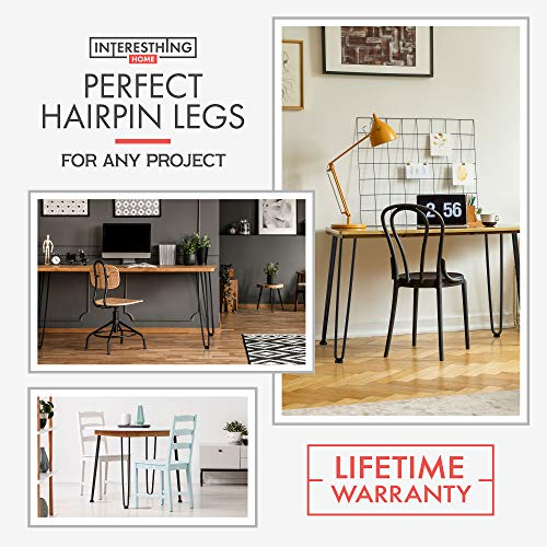 28 Inch Hairpin Legs - 4 Easy to Install Metal Legs for Furniture - Mid-Century Modern Legs for Dining and End Tables, Chairs, Home DIY Projects + Bonus Rubber Floor Protectors by INTERESTHING Home