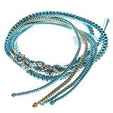 振袖用 帯締め 絹100% パールビーズ飾り付き 手組紐 帯〆 成人式や卒業式用 (ブルー系83829)