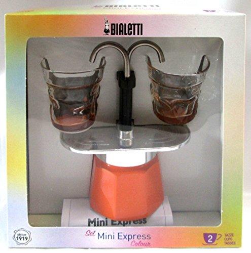 Bialetti: Set Mini Express Colour 2-Cups ORANGE + 2 Bialetti Transparent Coffee Glasses with Orange Bottom [ Italian Import ] by