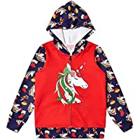 QPANCY Girls Hoodie Unicorn Jacket Zip Up Sweatshirt Clothes with Pockets
