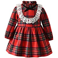 Happy Town Toddler Baby Girl Christmas Dress Cotton Long Sleeve Plaid Dress Overall Skirt Fall Winter Outfits 12M-4T