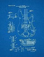 """フェンダーの電磁石ピックアップの楽器特許印刷アートポスター青写真 8.5"""" x 11"""" 10070-53-8"""