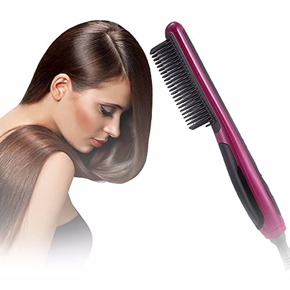 故障中どちらもすすり泣きセラミック電気毛矯正ひげブラシ、多段階調節可能な温度、巻き毛とストレート毛のための二重目的のスタイリングコーム
