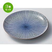 3個セット 千段十草6.0皿 [ 18.3 x 2.5cm 290g ] 【 組皿 】 【 料亭 旅館 和食器 飲食店 業務用 】