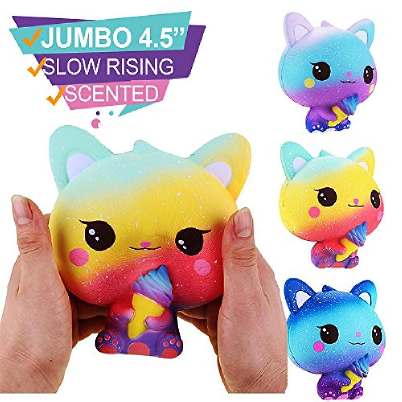 ジャンボ Galaxy Cat Squishy 玩具、Squishies応力おもちゃSquishy Kawaii Squishy応力Reliever Anxiety Toys Slow Risingクリーム香りつきおもちゃ子供大人 パープル