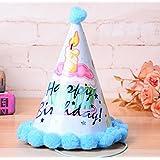 HuaQingPiJu-JP 誕生日パーティー用品Beautufulケーキパターンコーン帽子リトルソフトボールCap_Lightブルー