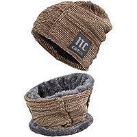 Fantastic Zone Men's Winter Knitting Skull Cap and Scarf Beanie Hat